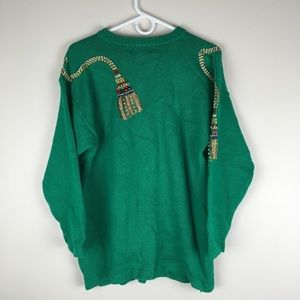 Victoria Harbour Sweaters - Vtg Christmas Sweater Green Beaded Tassels Ugly